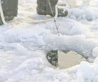 Ice Fishing on kempenfelt Bay, Lake Somcoe, Ontario Royalty Free Stock Photography