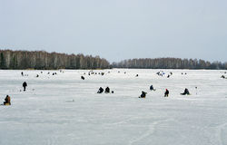 Ice-fishing on the lake. Stock Image