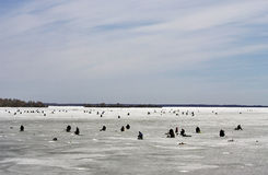 Ice-fishing on the lake. Stock Photography