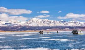 Ice Fishing on Lake Hovsgol Stock Photos