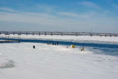 Ice-fishing landscape Stock Photos