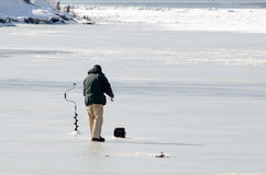 Ice fishing in michigan Stock Photos
