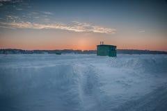 Ice Fishing on Muskrat Lake stock photography
