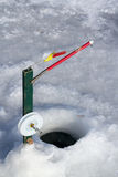 Ice fishing pole. At winter on ice stock images