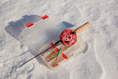 Ice fishing rod Royalty Free Stock Images