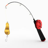 Ice fishing rod with spoon Royalty Free Stock Image