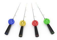 Ice fishing rods. On white. 3d rendered image Royalty Free Stock Photography