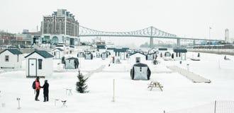 Ice fishing on Saint-Lawrence river Stock Photos