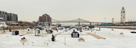 Ice fishing on Saint-Lawrence river Royalty Free Stock Photos