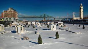 Ice fishing on Saint-Lawrence river Stock Photos