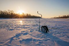 Ice fishing scene Royalty Free Stock Image