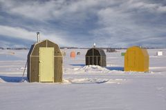 Ice Fishing Shacks Stock Image