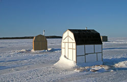 Ice Fishing Shacks Royalty Free Stock Photography