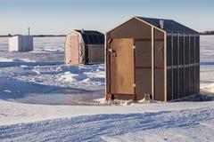 Ice Fishing Shacks Stock Photo