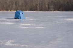 Ice Fishing Shanty. On a frozen lake stock photos