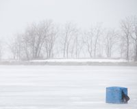 Ice Fishing Snow Storm Royalty Free Stock Photo
