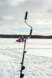 Ice Fishing and Snowmobiling Royalty Free Stock Photo