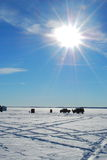 Ice Fishing Village. A village of ice huts and cars on a frozen lake stock photo