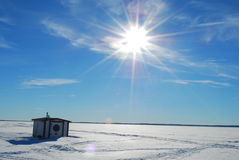 Ice Fishing Village. A village of ice huts on a frozen lake royalty free stock photo