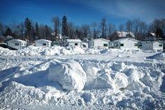 Ice Fishing village Stock Photography