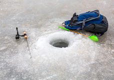 Ice Fishing in winter Stock Photo