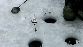 Ice fishing. Winter fishing rod stock video footage