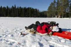 Ice fishing Stock Image