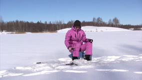 Ice fishing stock video footage