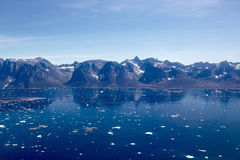 Ice fjord and mountains aerial photo Royalty Free Stock Photography