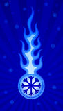 Ice flame. Blue frosty flame vector illustration Stock Photos