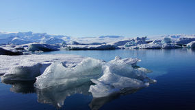 Ice floating in Jokulsarlon in in east fjords in Iceland Royalty Free Stock Image