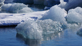 Ice floating in Jokulsarlon in in east fjords in Iceland Royalty Free Stock Photo