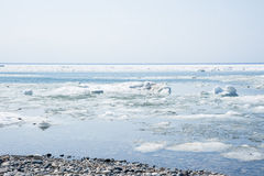 Ice floating on a lake. Royalty Free Stock Photos