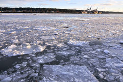 Ice floating on the river Royalty Free Stock Images