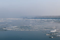 Ice floating in the river. Ice Break up Stock Photos