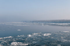 Ice floating in the river. Ice Break up Stock Image