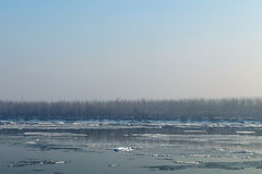 Ice floating in the river. Ice Break up Stock Photography