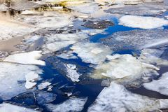 Ice floating on river in spring time. Melting of ice floe close-yp. Royalty Free Stock Image