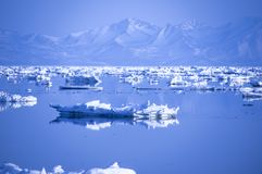 Ice floating in the sea against mountains Royalty Free Stock Images