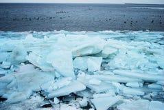 Ice floe. Massive stack of ice floe on the sea stock image