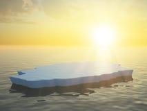 Ice floe. A single ice floe sunset scene royalty free stock photography