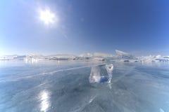 Ice floe. On Baikal lake in Siberia royalty free stock image