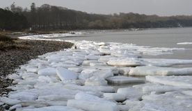 Ice floe on Danish beach in January Royalty Free Stock Image
