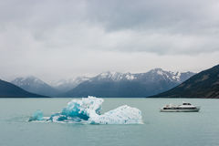 Ice floe with ferry on lake Argentino in Patagonia Royalty Free Stock Photography
