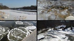 Ice floe floating on river water in winter season beautiful tale stock video