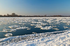 Ice floe flowing on Wisla river Stock Images