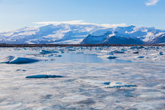 Ice floe on the ice field. Winter Iceland Stock Photography