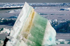 Ice floe with layers. Ice floe with colorful layers Stock Photos