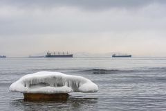 Ice floe on the sea. Ice floe on sea. Sea landscape in winter Stock Photos