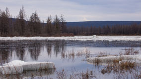 ICE FLOE. Spring river ice break-up sky water grass snow ice floe Yakutia Royalty Free Stock Photography